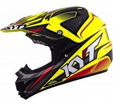 Kask Motocyklowy KYT CROSS OVER POWER czarny / żółty fluo - XS